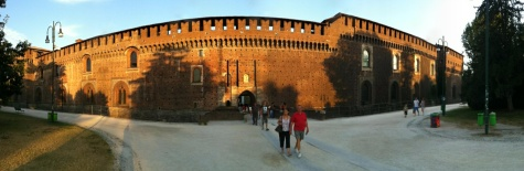 Panoramic view of castle in Milan