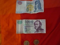 Hungarian Money - about 278 Forints to a Euro