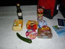 Dinner - eggs, good dark seedy german rye, pasta, cheese, zucchini, good oil - living it up mmmm