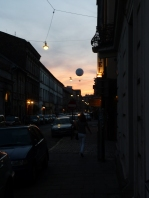 Streets of Krakow - hot air balloon in background