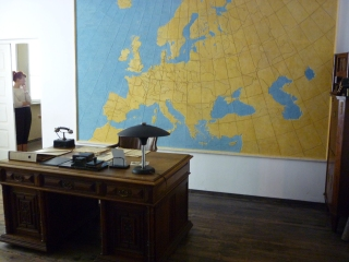 Schindler's desk as is with map he left on wall