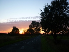 Today's route - sun setting over Poland