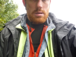 The layers - Skins top and bottoms, wind proof vest, bicycle shirt, High vis wind proof jacket and then rain jacket - all with zips to undo or do up when needed rather than take off and put on all the time
