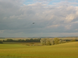 Military helicopter in background