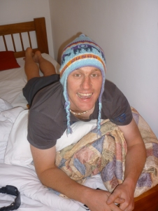 Chilln in hotel with the local beanie on