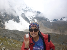 on Salkantay Trek - top of Salkantay mountain