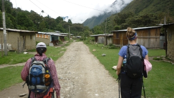 Going through local villages on Salkantay Trek