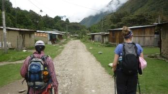 Going through local villages on Salkantay Trek