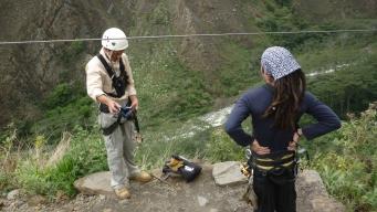 Zip lining on the Salkantay Trek