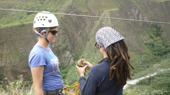 Getting instructions - Zip lining on the Salkantay Trek