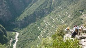 Top of Huayna Picchu looking down on Machu Picchu