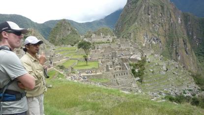 Being guided around Machu Picchu