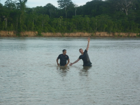 Swimming with Ivan near monkey island - really warm amazon water